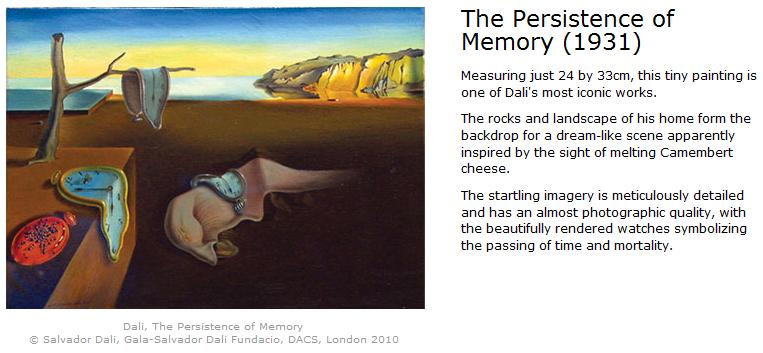 the persistence of memory Unlike other notorious paintings, the title of salvador dalí's famous painting the persistence of memory has a very strong correlation to the meaning that the painting conveys the persistence of memory is an oil on canvas painting created in 1931 by salvador dalí that now proudly hangs in the.